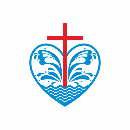 cross: Logo church. Christian symbols. Heart, cross and waves. Jesus - the source of living water. Illustration