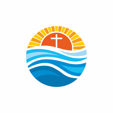 psalm: Logo church. Christian symbols. Waves, cross, sun, streams of water alive. Illustration