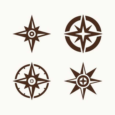 boy scouts tent: Camping symbols. Compass rose. Illustration