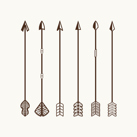 boy scouts tent: Camping symbols. Set of hand drawn arrows.