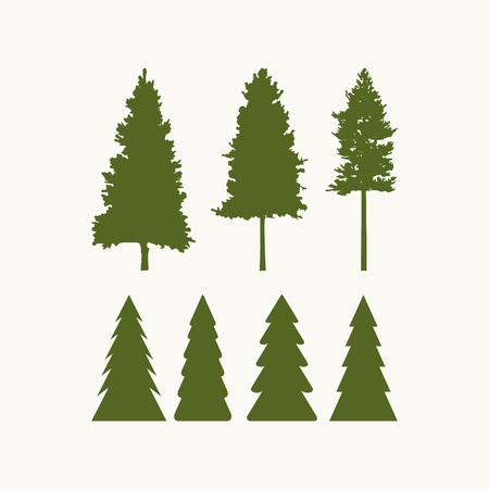 boy scouts tent: Camping symbols. silhouettes of trees