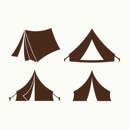 boy scouts tent: Camping symbols. Tent icons
