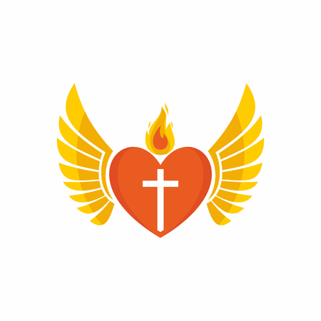 heart with wings: Church logo. Christian symbols. Jesus heart and wings.