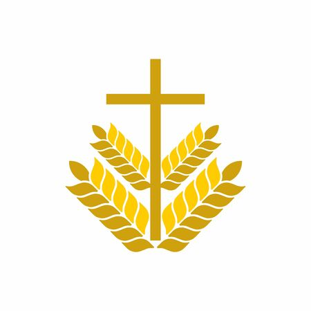 evangelism: Church logo. Christian symbols. Cross and wheats. Illustration