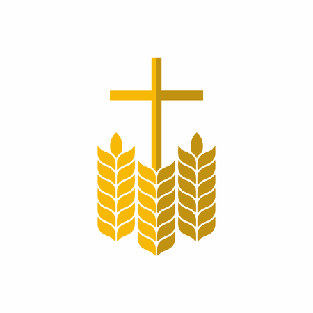 Kirchenlogo. Christliche Symbole. Kreuz und Weizen.