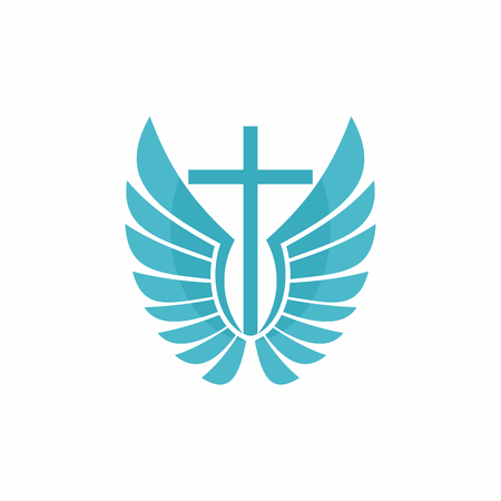 christian cross and wings: Church logo. Christian symbols. Cross and wings.