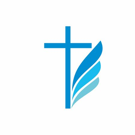 Church logo. Christian symbols. Cross and wing.  イラスト・ベクター素材
