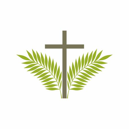 Kirchenlogo. Christliche Symbole. Kreuz und Palmzweige.