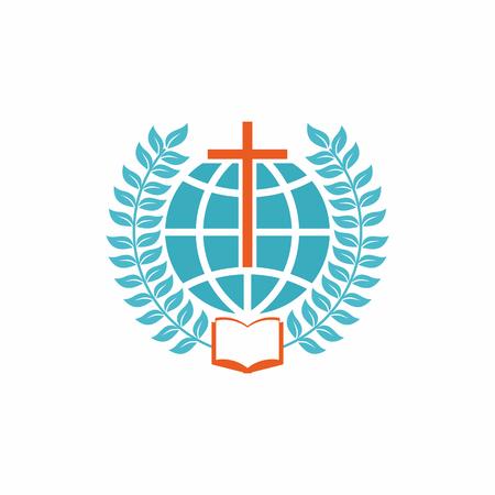 Kirchenlogo. Christliche Symbole. Kreuz, Kugel, offene Bibel und Lorbeerzweigen.