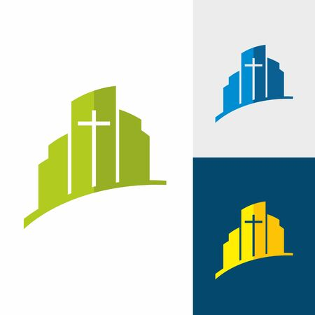 evangelism: Church logo. Christian symbols. City and Jesus cross.