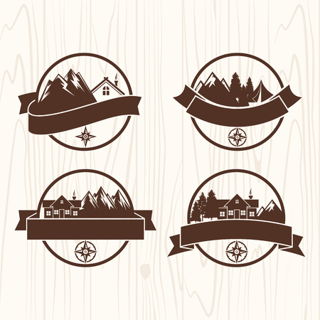 boy scouts tent: Summer camp badges logos and labels for any use, on wooden background texture