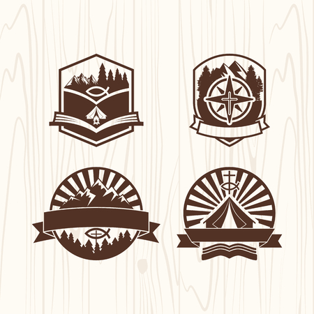 boy scouts tent: Christian summer camp badges logos and labels for any use, on wooden background texture