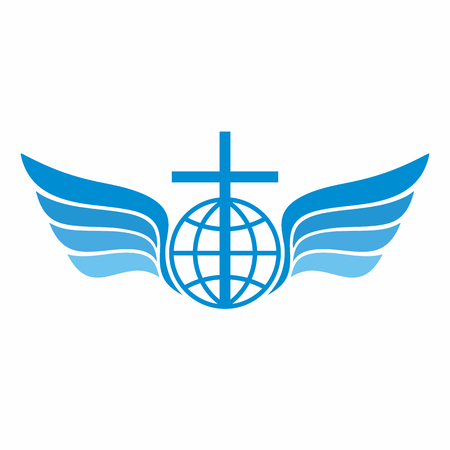 scripture: Church  . Globe, world, Jesus cross and angel wings.