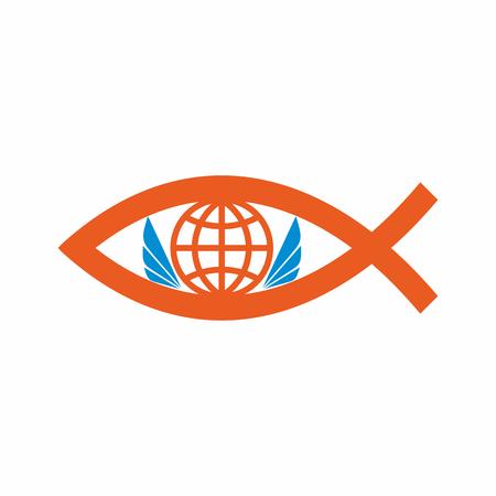 pez cristiano: Iglesia . Globo, mundo, cristianos de los pescados, y alas de ángel.