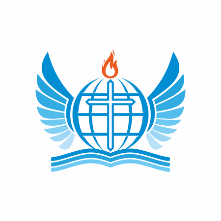 flame wings: Church  . Bible, cross, globe and the world, the flame of the Holy Spirit, and angel wings. Illustration