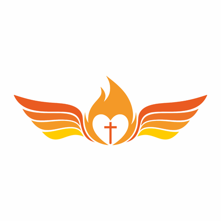 flame wings: Church  . The cross of Jesus Christ, the flame of the Holy Spirit, and angel wings.