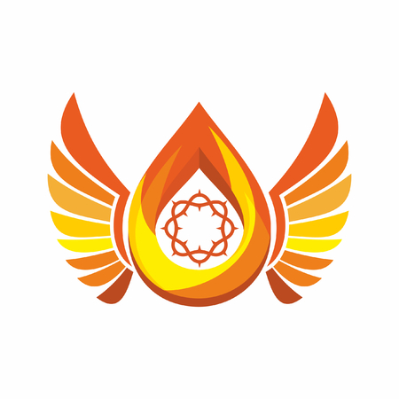 flame wings: Church  . Crown of Thorns, the flame of the Holy Spirit, angels wings.