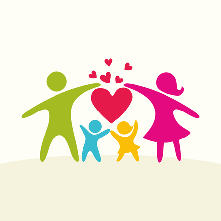 A happy family. Multicolored figures, loving family members. Parents: Mom, Dad, kids.