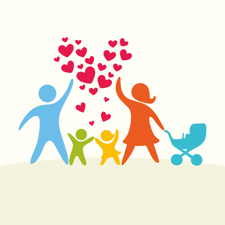 mom and dad: A happy family. Multicolored figures, loving family members. Parents: Mom, Dad, kids.