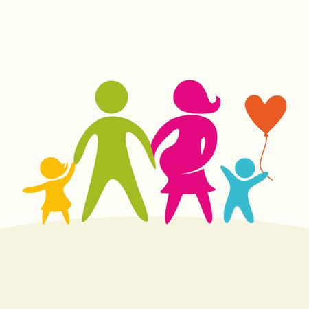 mom dad: Una familia feliz. figuras multicolores, miembros de la familia amorosa. Padres: mamá, papá, niños.