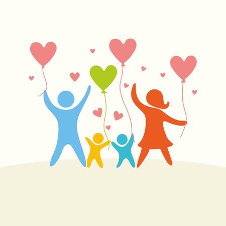 Een blije familie. Veelkleurige cijfers, liefhebbende familieleden. Ouders: Mamma, Papa, kind.