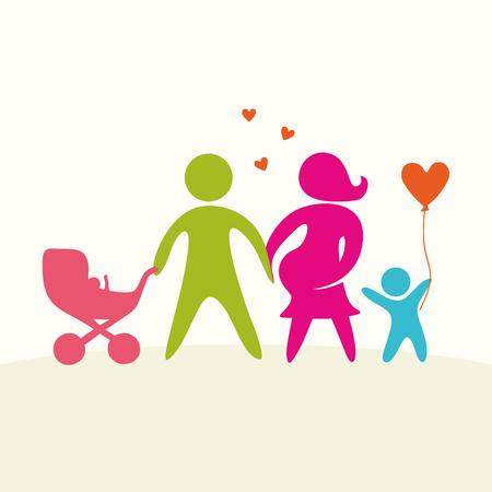 Een blije familie. Veelkleurige cijfers, liefhebbende familieleden. Ouders: Mamma, Papa, kind. Logo, pictogram, teken.