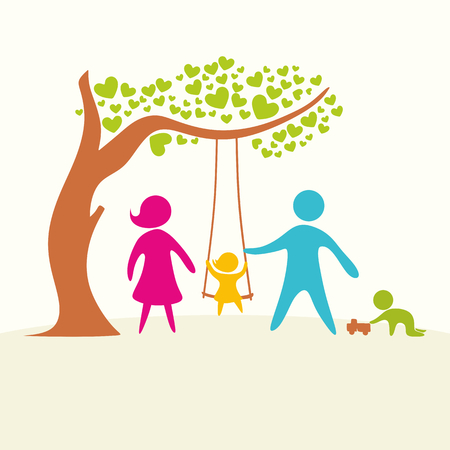 loving: A happy family. Multicolored figures, loving family members. Parents: Mom, Dad, kids. Logo, icon, sign. Illustration