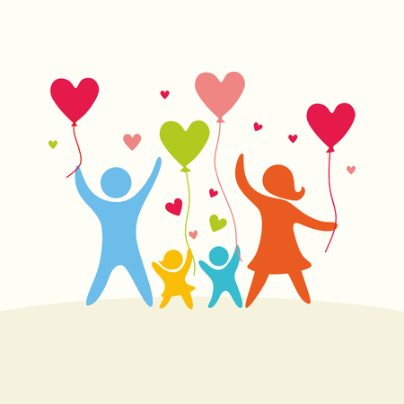 mom and dad: A happy family. Multicolored figures, loving family members. Parents: Mom, Dad, kids. Logo, icon, sign. Illustration