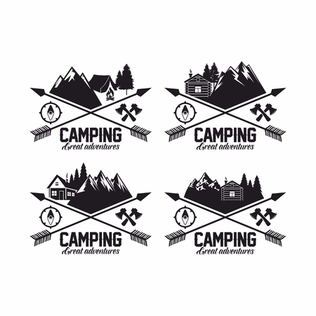 boy scouts tent: Summer camp badges logos and labels