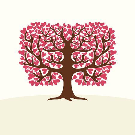 arbol genealógico: Árbol con los corazones. Ilustración. Vectores