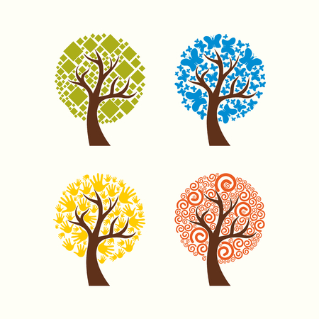 family tree: Collection Of Trees. Illustration.