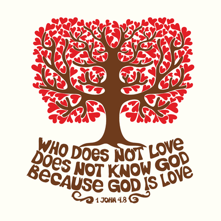 lord jesus: Bible typographic. Who does not love, does not know God, because God is love.