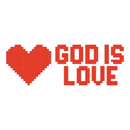 cristianismo: el arte cristiano. enclavamiento ladrillos de plástico de colores, la construcción de plástico. Dios es amor.