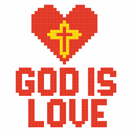 Christian art. Colorful interlocking plastic bricks, plastic construction. God is love.