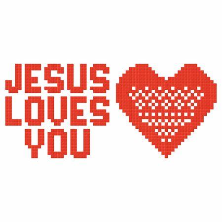 religion catolica: el arte cristiano. enclavamiento ladrillos de plástico de colores, la construcción de plástico. Jesús te ama. Vectores