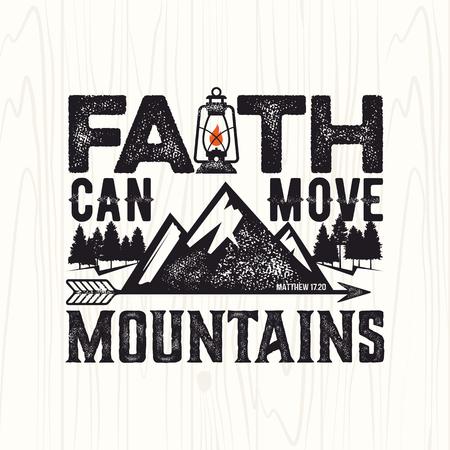 Bijbelse illustratie. Christian belettering. Het geloof kan bergen verzetten, Matthew 17:20 Vector Illustratie