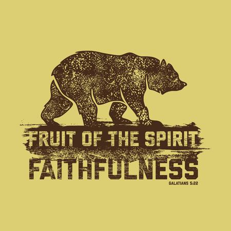 fruit of the spirit: Biblical illustration. Christian lettering. Fruit of the spirit - faithfulness. Galatians 5:22
