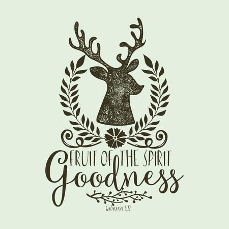Biblical illustration. Christian lettering. Fruit of the spirit - goodness. Galatians 5:22