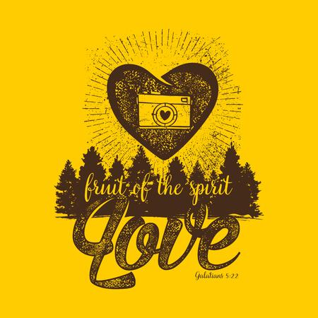 biblical: Biblical illustration. Christian lettering. Fruit of the spirit - love. Galatians 5:22 Illustration