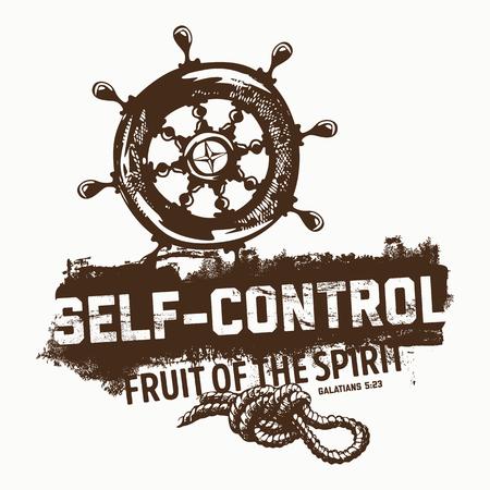 biblical: Biblical illustration. Christian lettering. Fruit of the spirit - self-control. Galatians 5:23 Illustration