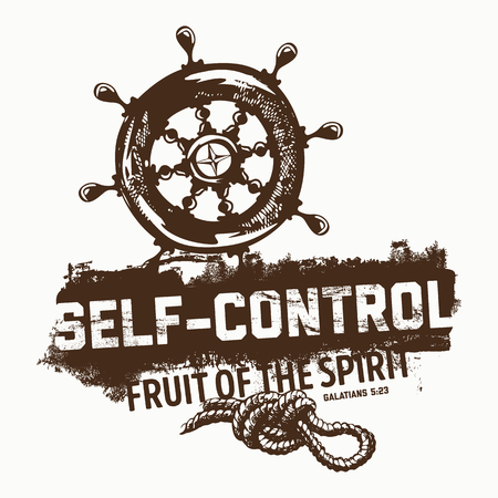 Biblical illustration. Christian lettering. Fruit of the spirit - self-control. Galatians 5:23 Illustration