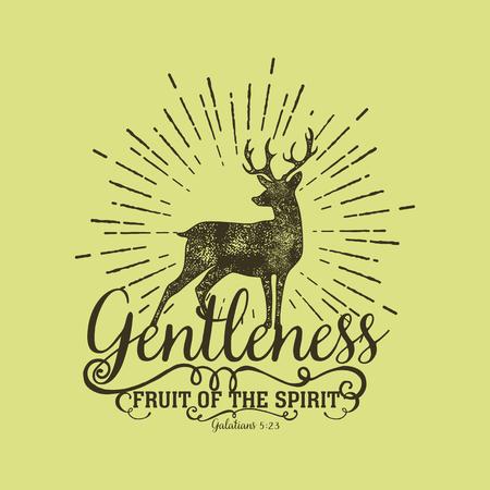 gentleness: Biblical illustration. Christian lettering. Fruit of the spirit - gentleness. Galatians 5:23