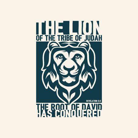 revelation: Biblical illustration. Christian lettering. The lion of the tribe of Judah. Revelation 5: 5 Illustration