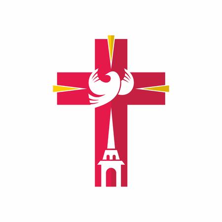 Church logo. Christian symbols. Jesus, the Church and the Holy Spirit.