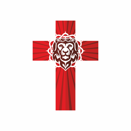 psalm: Church logo. Christian symbols. The cross and the lion.