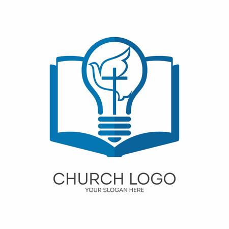 Kirchenlogo. Christliche Symbole. Jesus das Licht der Welt, führt der Heilige Geist.
