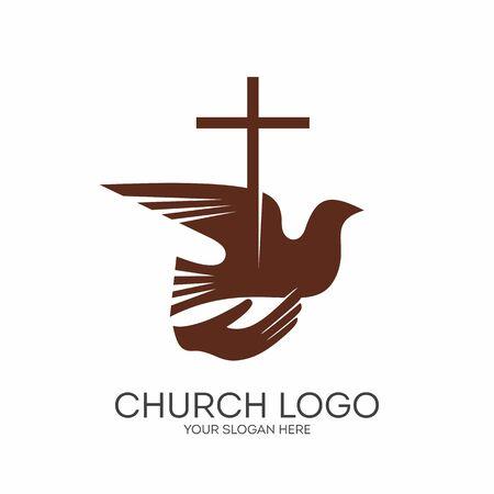 Church logo. Christian symbols. Jesus and the Holy Spirit.