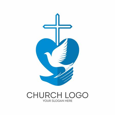 Church logo. Christian symbols. God has given us the Holy Spirit.