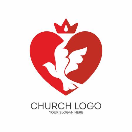 reigns: Church logo. Christian symbols. Holy Spirit reigns.