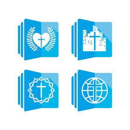Set of church logo. Christian symbols.